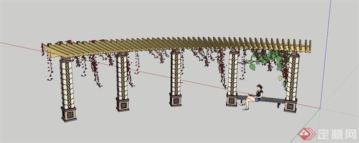 欧式藤蔓廊架坐凳设计su模型(1)