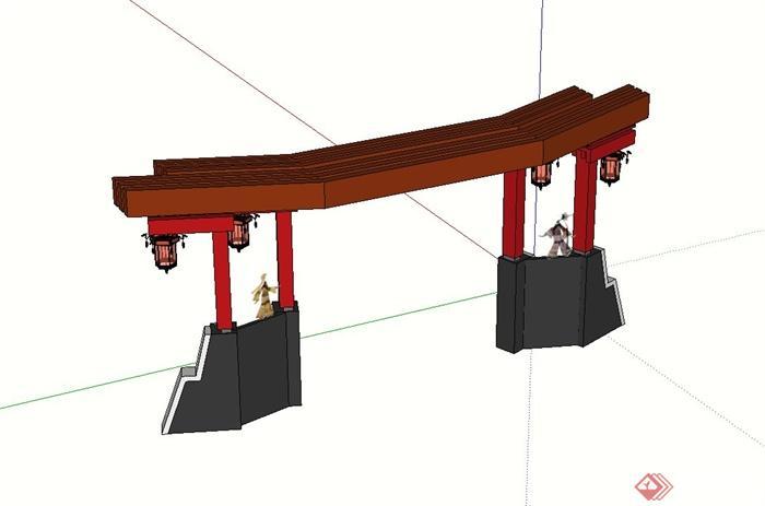 古典中式公园出入口大门设计su模型(2)