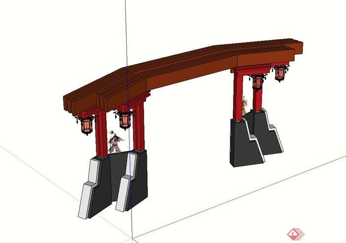 古典中式公园出入口大门设计su模型(3)