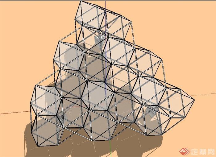 现代三角形玻璃钢架结构廊架设计su模型