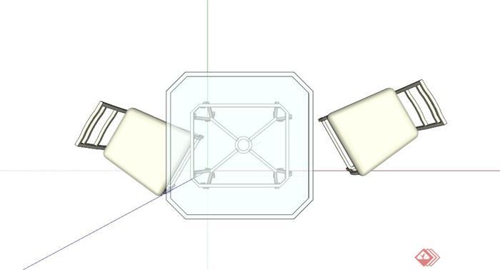 现代双人桌椅设计SU模型(2)
