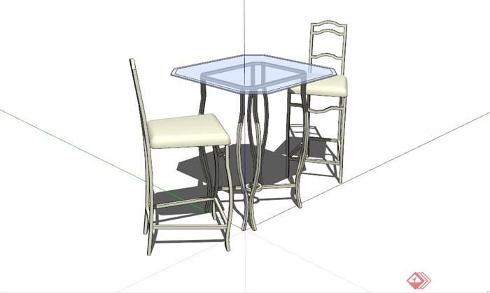 现代双人桌椅设计SU模型(1)