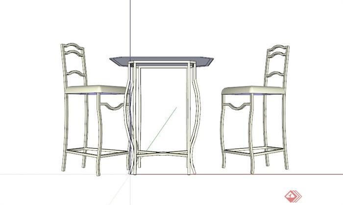 现代双人桌椅设计SU模型(3)