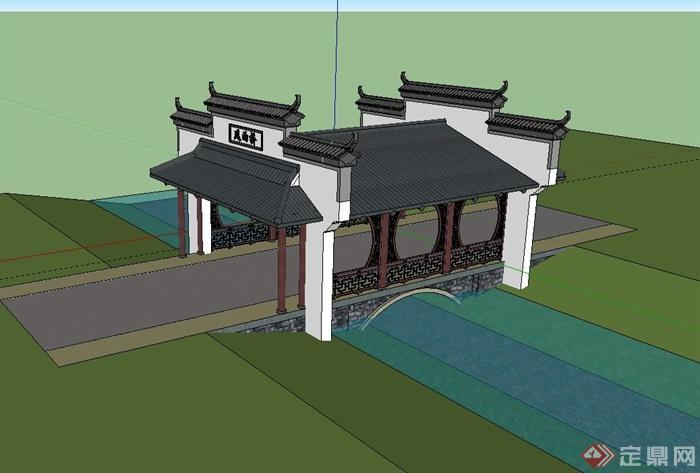 某古典中式出入口门廊设计su模型(2)