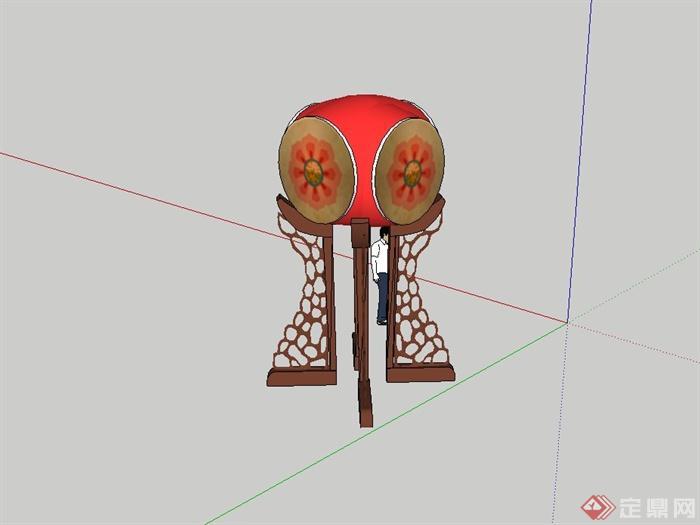 古典中式鼓设计su模型