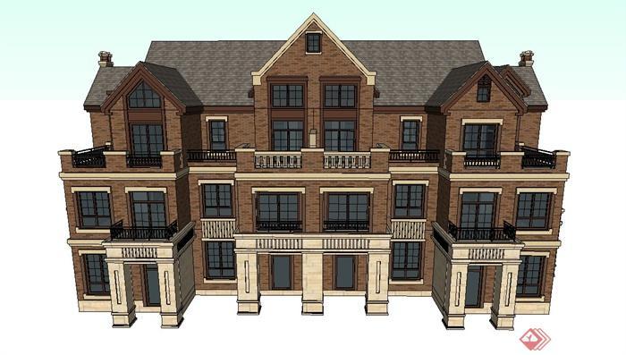 三层英式联排别墅建筑设计SU模型