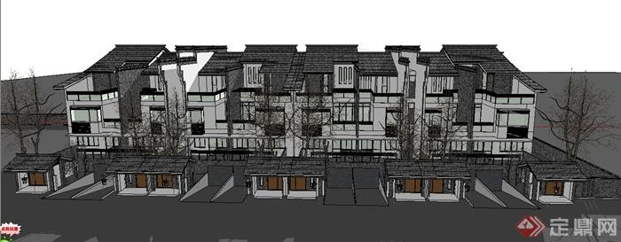 多层新中式坡屋顶别墅建筑设计su模型[原创]