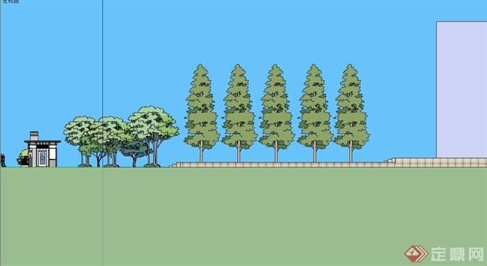 某现代风格动物园大门入口设计su模型(4)