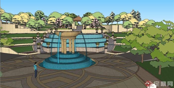 某欧式风格公园入口门廊设计su模型[原创]