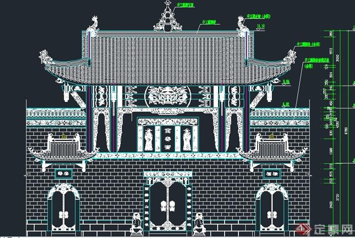 古典中式门楼设计cad图图片