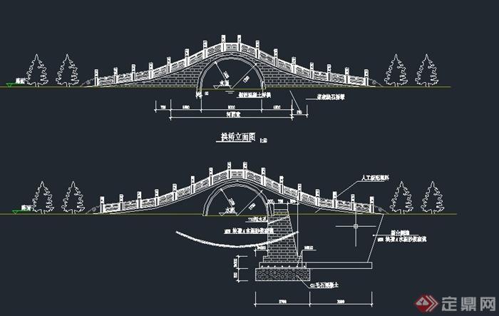园林景观古典中式石拱桥设计cad施工图
