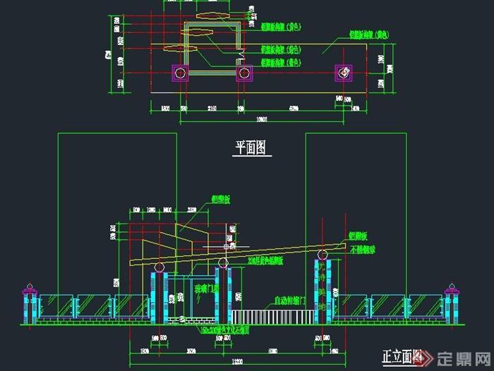 现代伸缩门门卫室v图纸CAD施工图图纸二孔桥图片