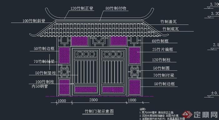 竹制大门门廊设计cad立面图
