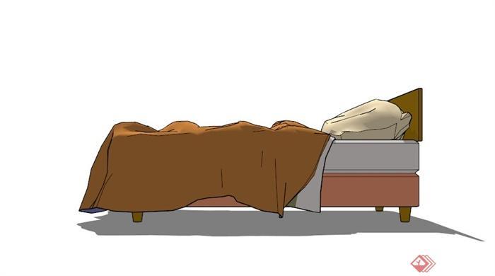 现代木质单人床设计su模型