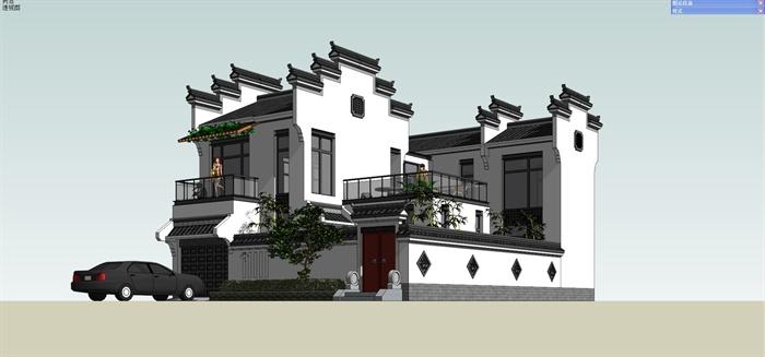 徽派中式别墅住宅建筑设计su模型