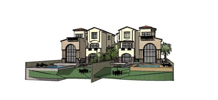 地中海风格大双拼别墅建筑设计su模型图片