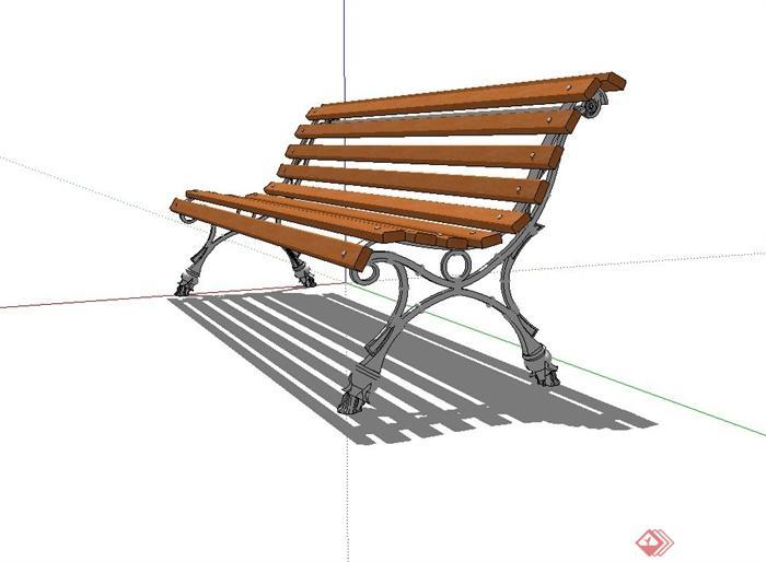 防腐木长条座椅设计su模型[原创]