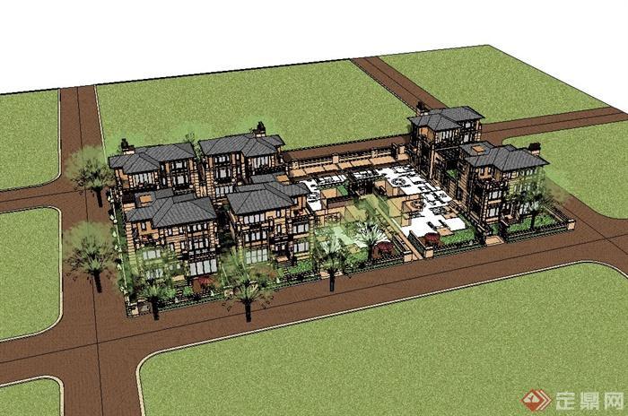 欧式别墅建筑及院落设计su模型(3)