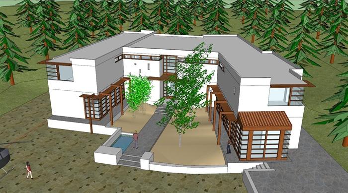 某现代风格森林住宅别墅建筑设计su模型