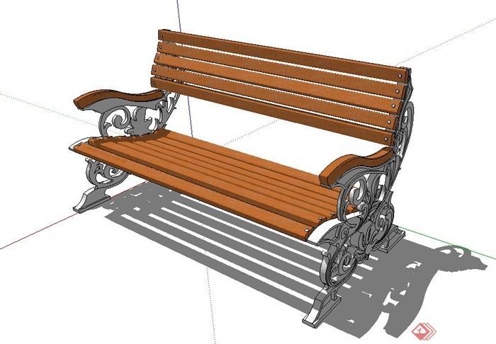 户外木质铁艺座椅设计su模型[原创]