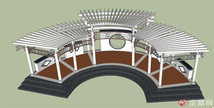 庭院景观节点弧形廊架设计su模型[原创]