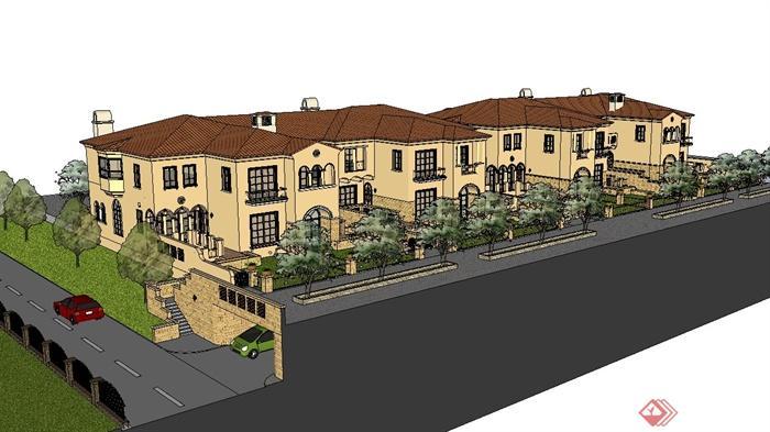欧式两联排别墅建筑设计su模型