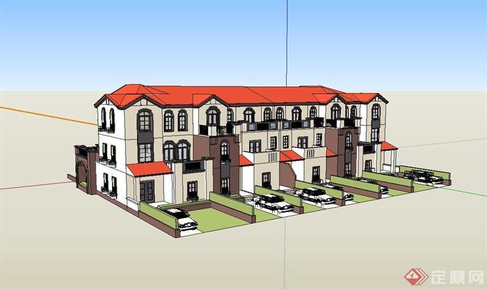 某欧式联排住宅别墅建筑设计su模型(1)