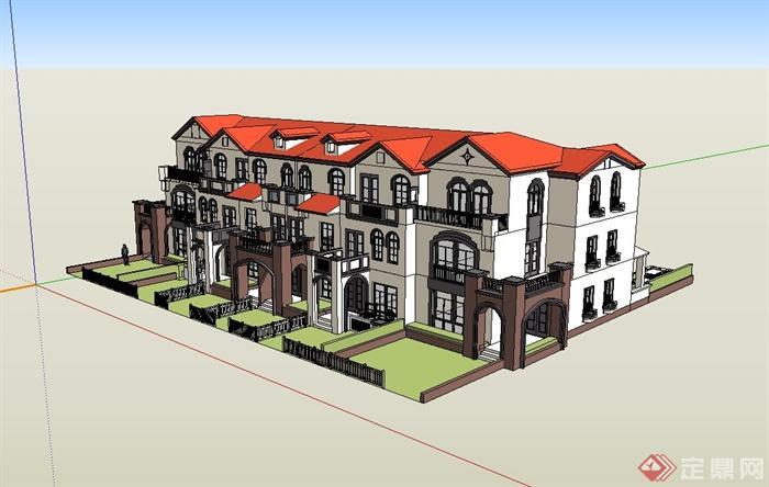 某欧式联排住宅别墅建筑设计su模型[原创]