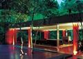 休闲廊亭,木地板铺装,地灯