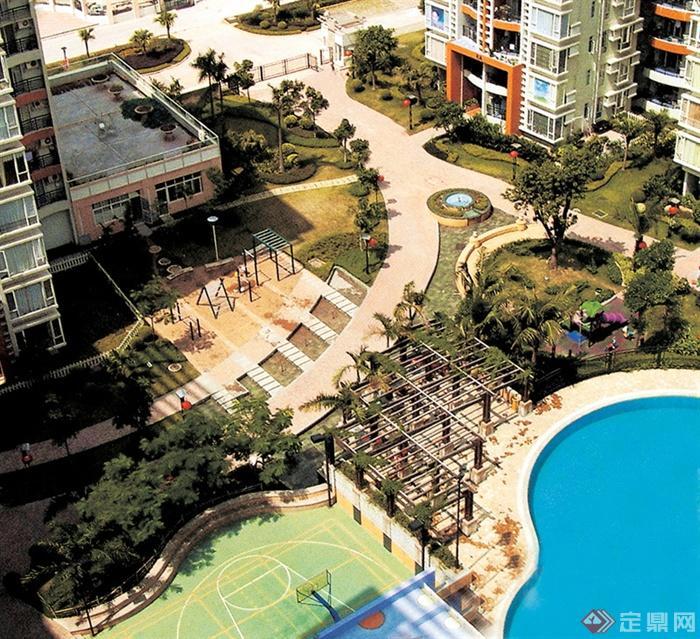 小区景观,篮球场,泳池景观,健身设施