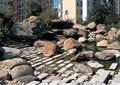 水池景观,水上汀步,石板汀步,假山石头