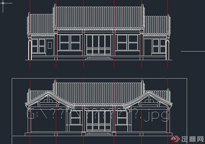 单层古典中式四合院建筑设计cad图