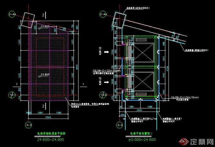 上海某公司科观光电梯建筑及钢结构施工cad图纸