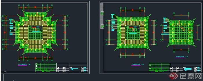 古典中式风格三层塔楼建筑设计cad施工图