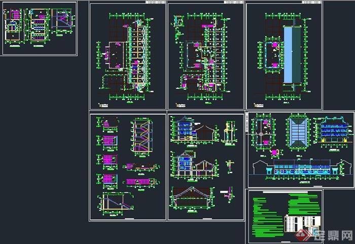 古典中式两层四合院文化建筑设计CAD详图