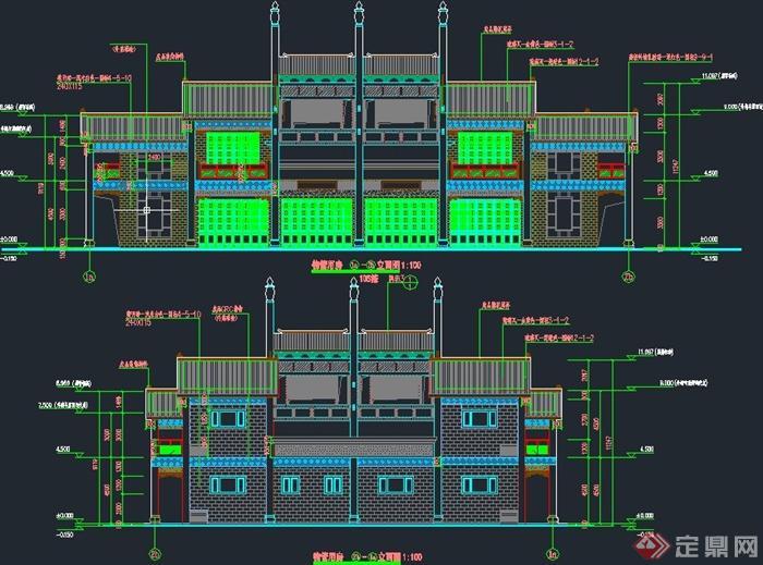 古典中式两层商铺建筑设计cad施工图