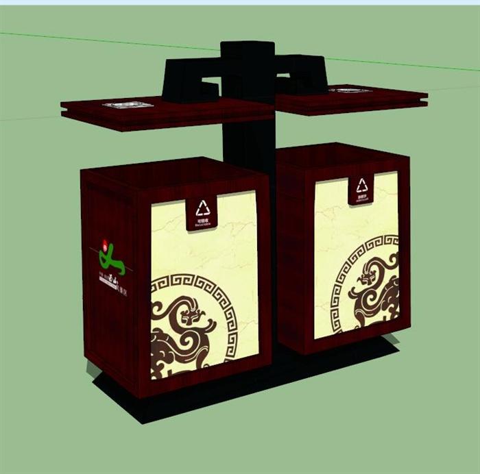 现代中式风格垃圾桶设计su模型[原创]