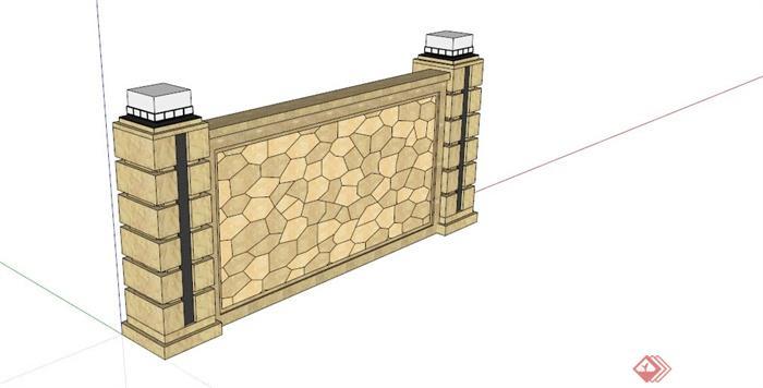 欧式黄色石材景墙设计su模型