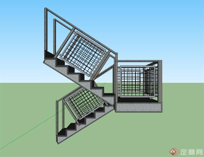 现代铁网栏杆围栏楼梯设计su模型图片