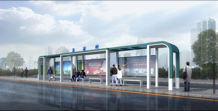 现代公交站3种廊架设计3dmax模型[原创]