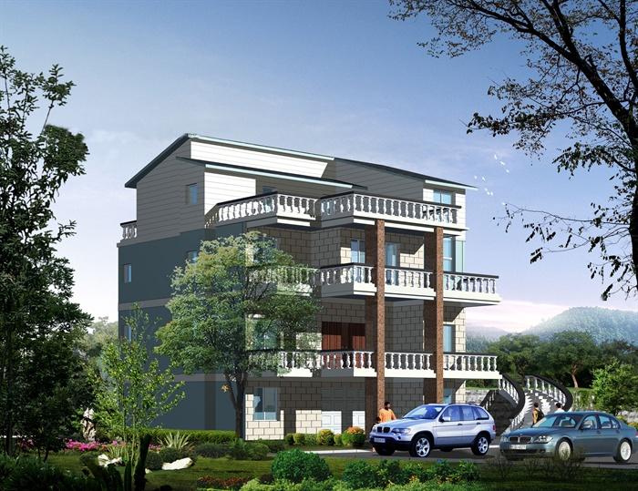 三層農村自建房別墅建筑設計cad施工圖(含效果圖)