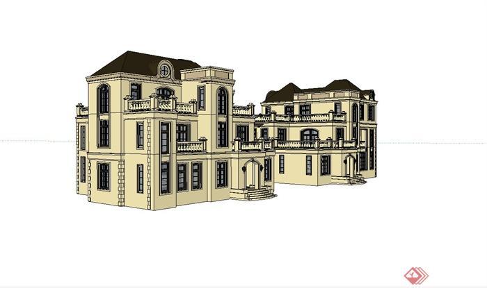 法式双拼住宅别墅建筑设计su模型(1)