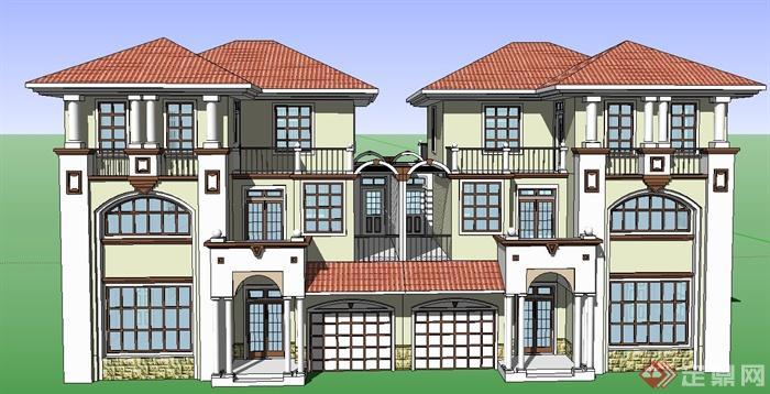 欧式风格双拼三层别墅建筑设计su模型[原创]