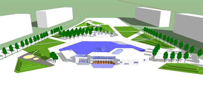 艺术展览馆建筑及外环境模型设计su模型[原创]