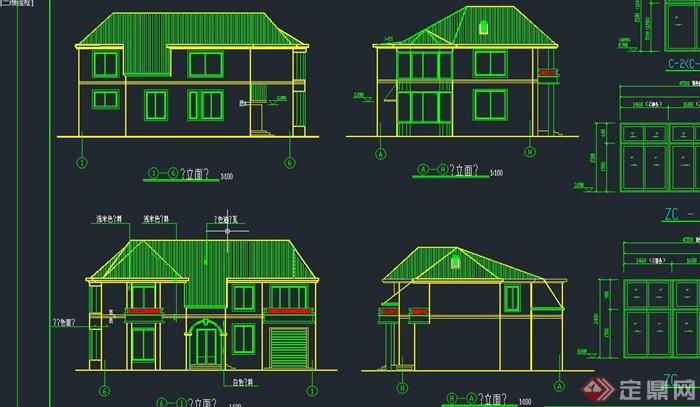 两层乡村居民住宅建筑设计cad施工图