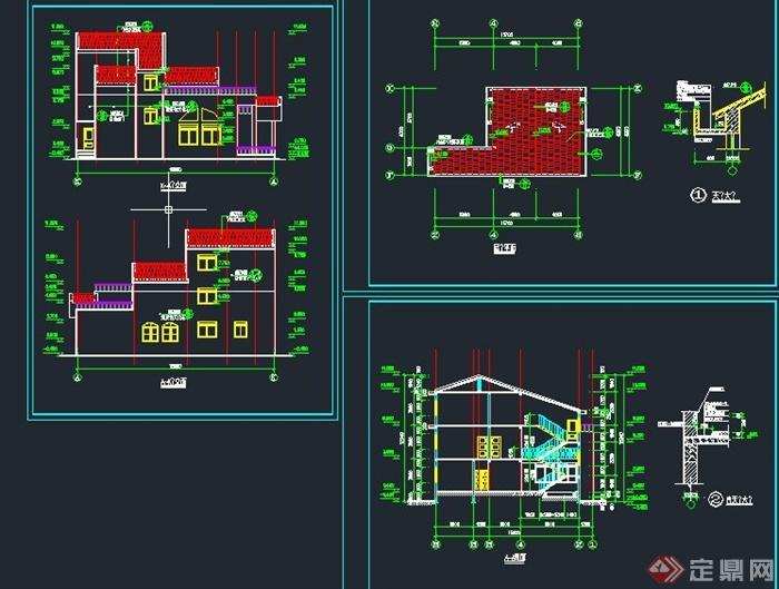 欧式阶梯形三层别墅建筑设计cad施工图