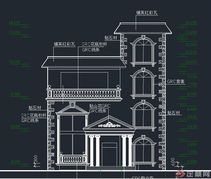 三层欧式小别墅建筑设计cad施工结构图