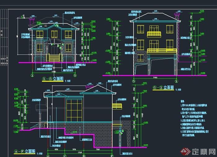 三层坡屋顶别墅建筑设计cad施工图