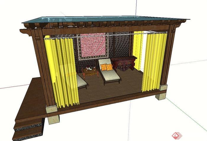 园林木质玻璃休息廊架设计su模型