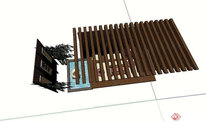 园林景观木质廊架景墙设计su模型